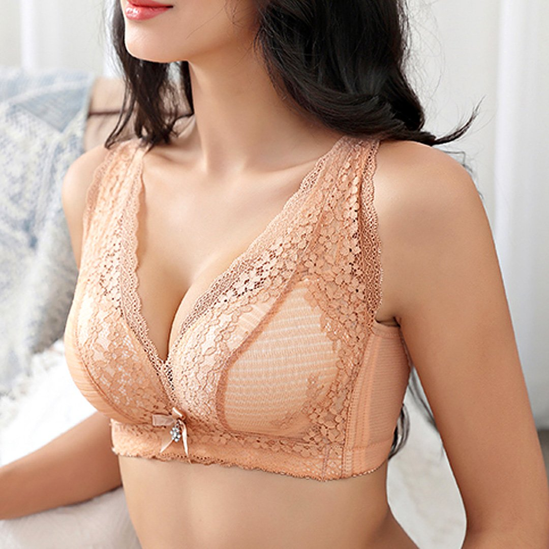 Sexy lace deep V gathers no steel ring to receive the breast on the support bra