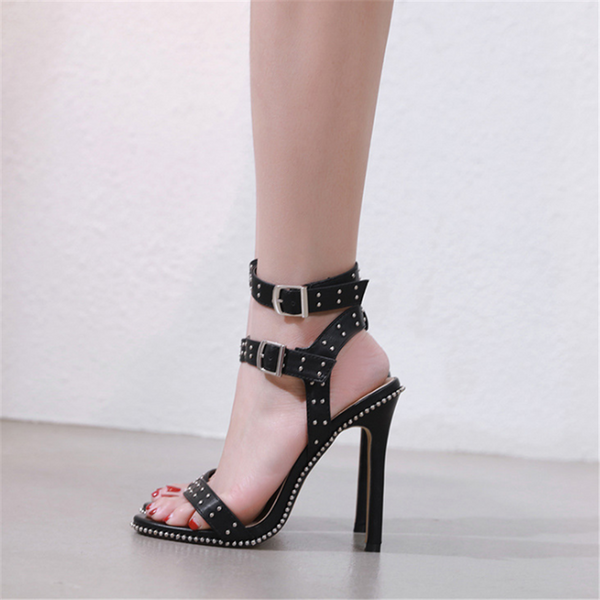 Studded buckle high heel sandals