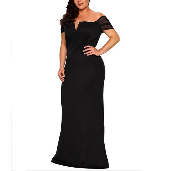 Plus-size Pure Color Off  Shoulder Sexy Splicing  Evening Dress