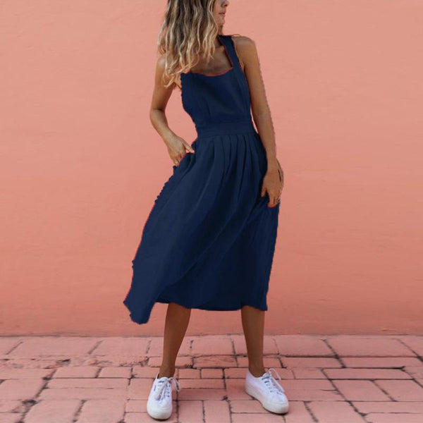Sexy Backless Cross Sleeveless Plain Maxi Dresses