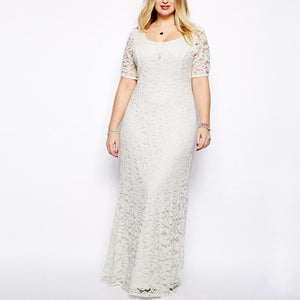 Plus Size Elegant Fashionable Pure Color Lace Short Sleeve Evening Dress
