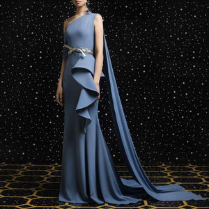 Elegant Vintage One Shoulder Sleeveless Irregular Falbala Plain Evening Dress