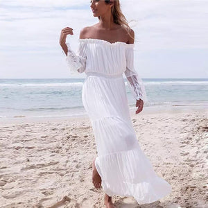 Lace Off Shoulder Patchwork Vacation Dress