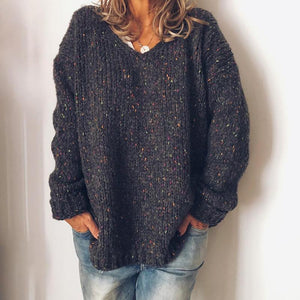 Casual v-neck solid color loose knit ladies top