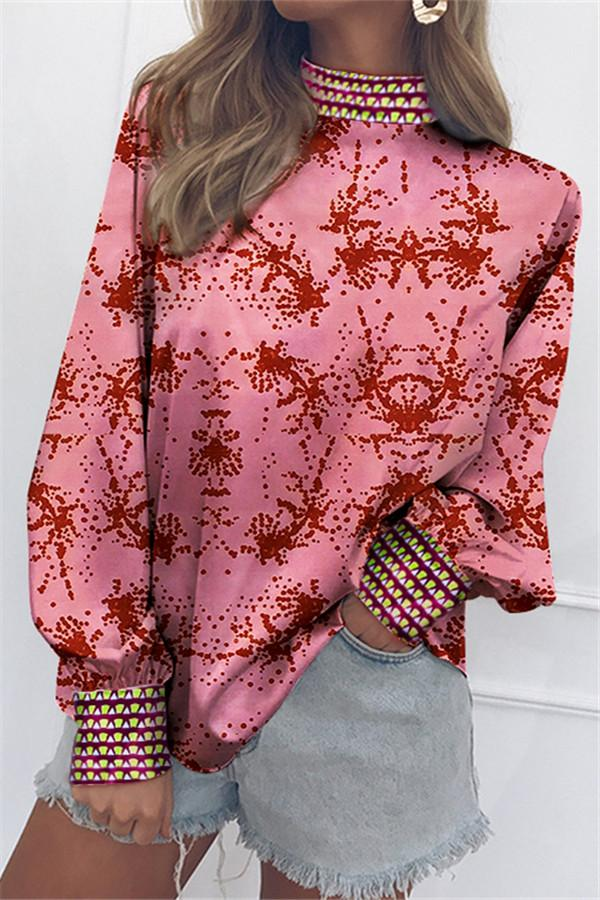Fashion Vertical   Collar Long-Sleeved Print Matching Blouses