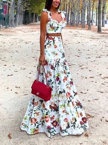 Women Sexy Printed Colour Two Piece High Waist Dress