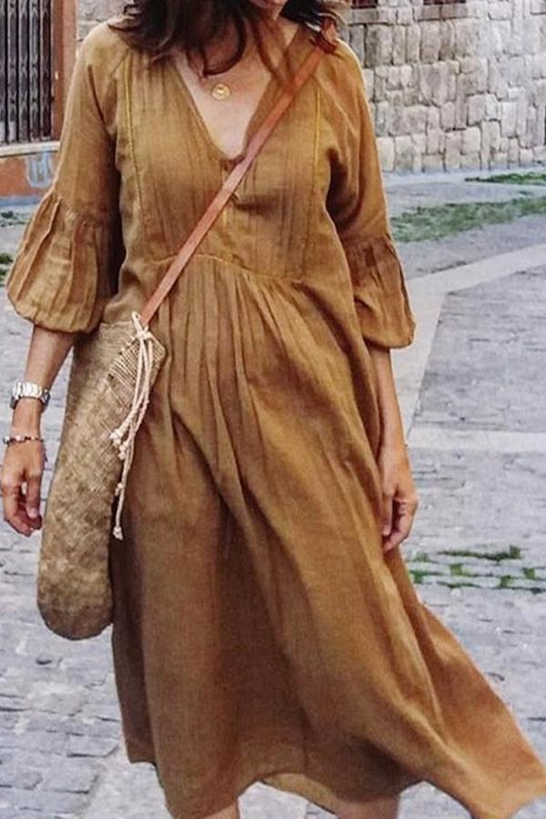 V-Neck Long-Sleeved Casual Dress
