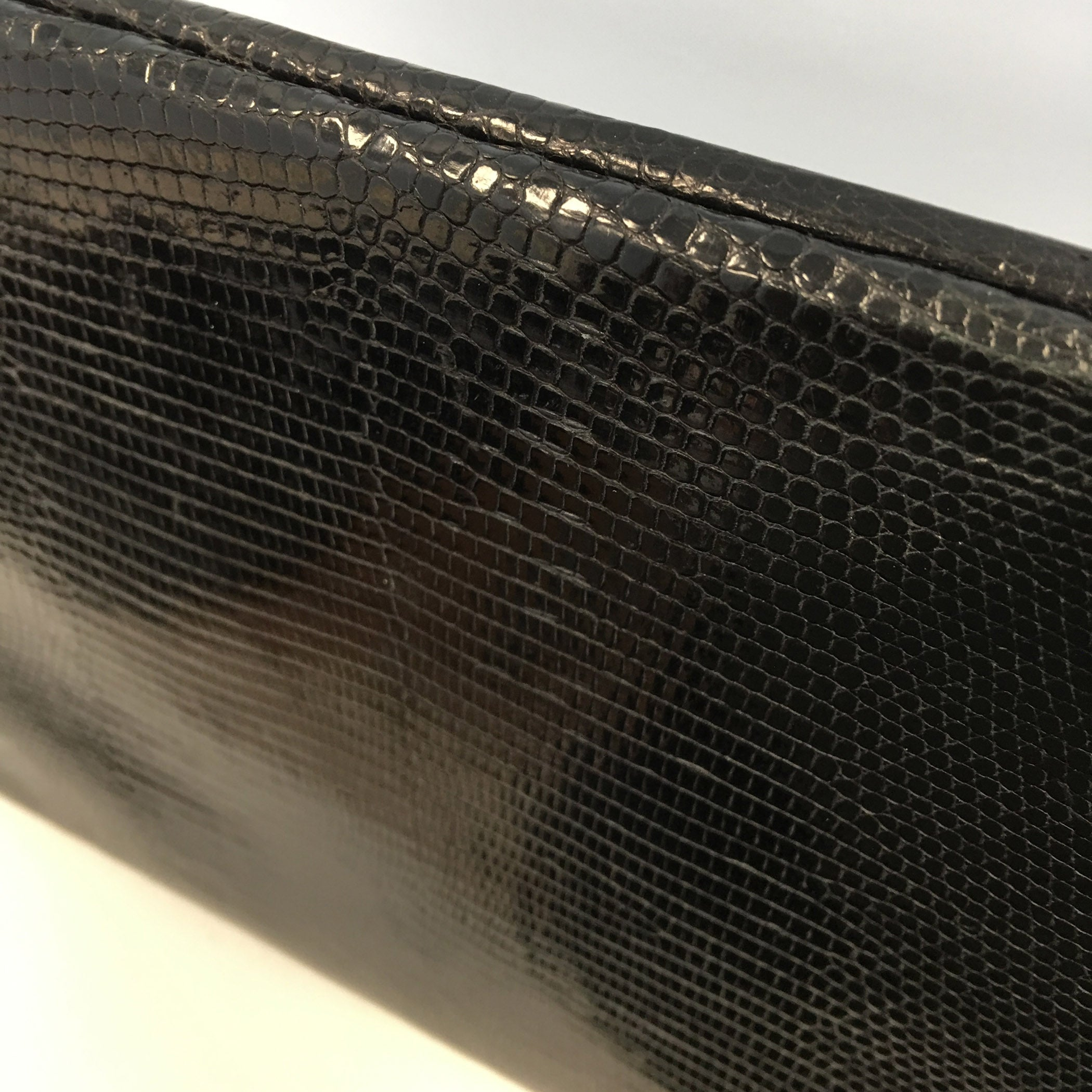 Folio Clutch - Black Lizard with Gold Wire Embroidery - Paige Gamble NYC