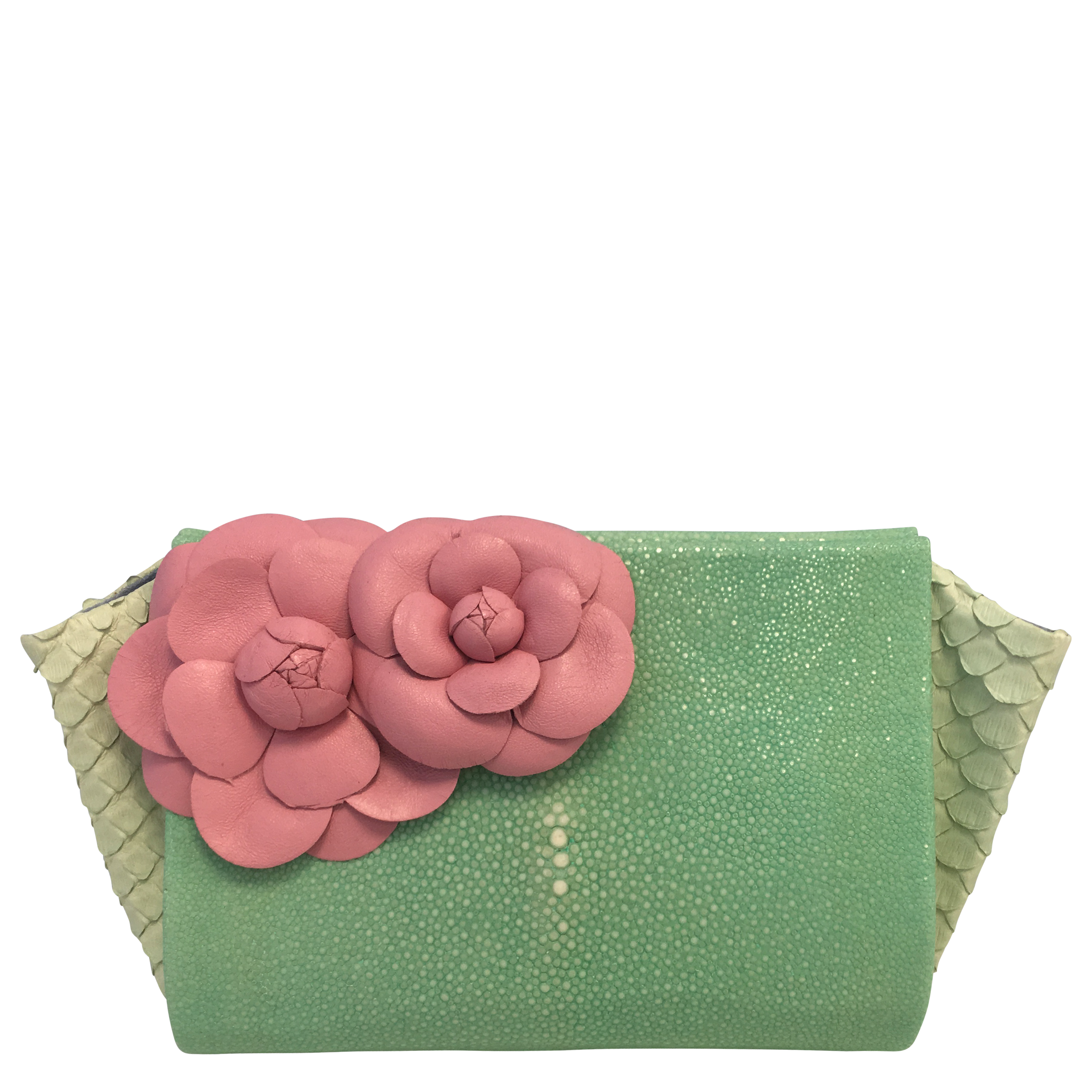 Pink Flowers On Mint Stingray Classic Clutch Paige Gamble Nyc