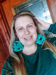 Turquoise Leopard Pom Pom Earrings - XL