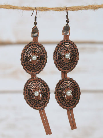 Copper Concho and Pearl Earrings