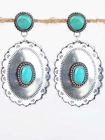 Scalloped Silver and Turquoise Concho Studs