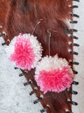 Tie Dye Pom Pom Earrings- Pink and White