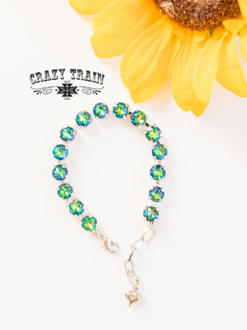 Give Me All The Bling Bracelet - Turquoise