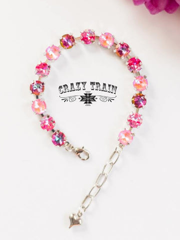 Give Me All The Bling Bracelet - Multi Pink
