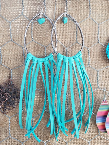 Saddle Up Fringe Hoops - Turquoise