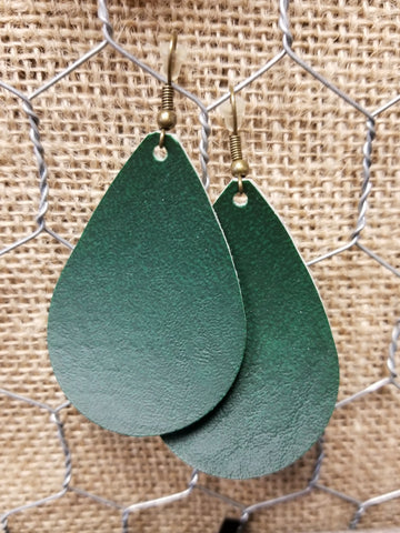 Hunter Green Leather Teardrops