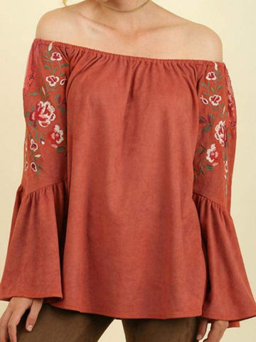 Rust Bell Sleeved Off The Shoulder Top