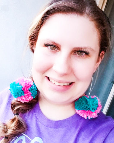 Tie Dye Pom Pom Earrings - Teal and Pink