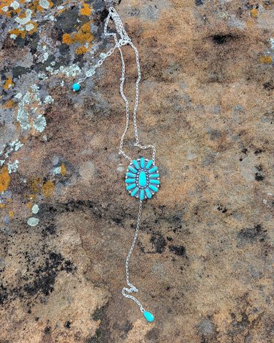 Turquoise Dreams Stamped Kingman Y Necklace