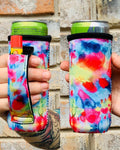 Bright Tie Dye Slim Can Cooler With Handle