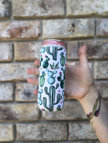 Cactus Slim Can Cooler With Handle