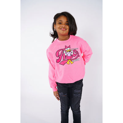 Girls Youth Duck Pink Crewneck Sweatshirt
