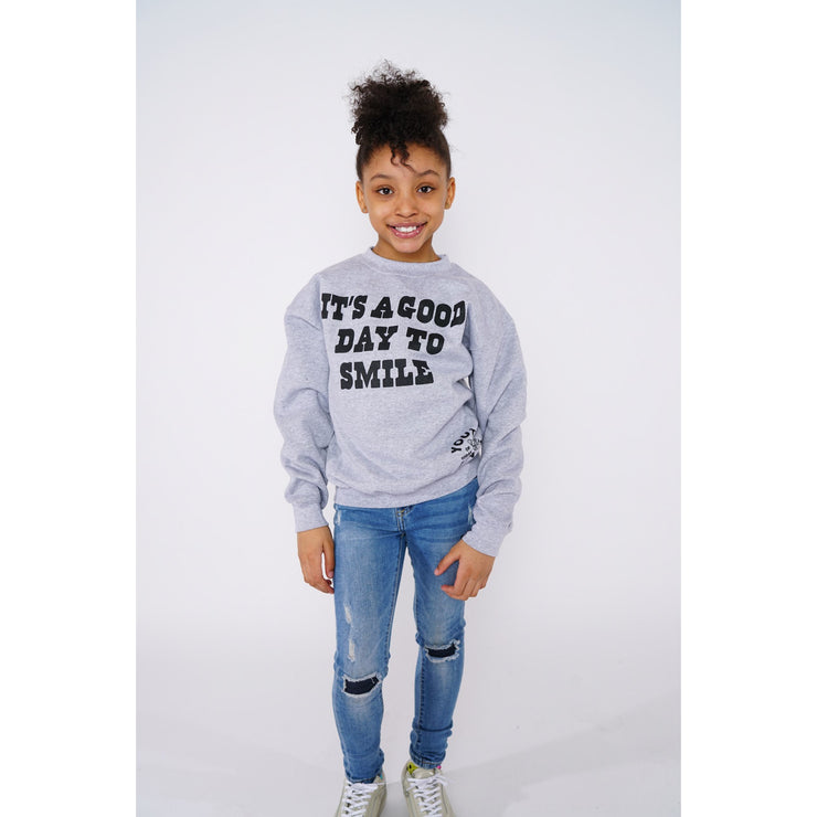 Heather Smile Grey Crewneck - Amir & Amira
