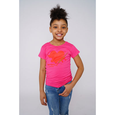Girls Liquid Heart Pink T-shirt - Amir & Amira