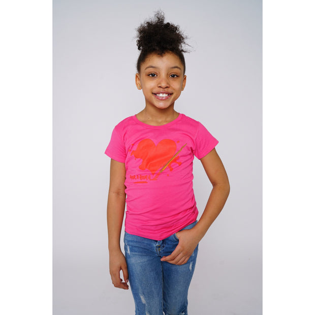 Girls Liquid Heart Pink T-shirt