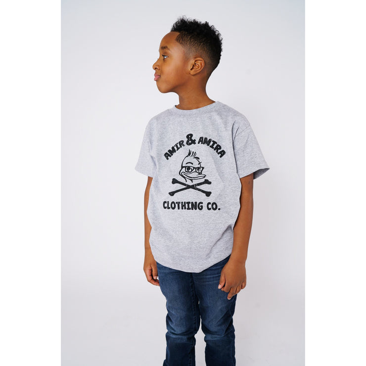Boys Sports Grey Crossbones T-Shirt - Amir & Amira