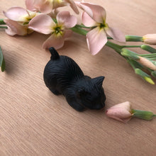 Load image into Gallery viewer, Tiny Black Obsidian Cat