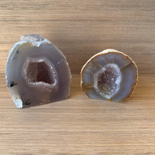 Agate geode Pair (mini caves)