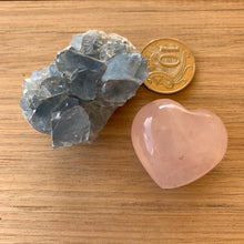 Load image into Gallery viewer, Celestite and Rose Quartz Heart