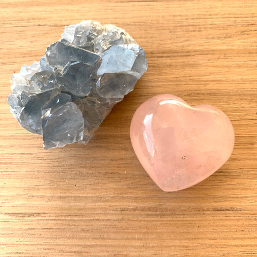 Celestite and Rose Quartz Heart