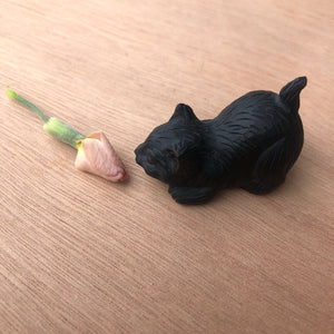 Tiny Black Obsidian Cat