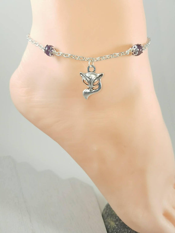 Vixen Hotwife Anklet, Sterling Silver, Genuine Amethyst Beads, Personalized Jewelry, Sexy Anklets, Swinger Jewelry, Kinky