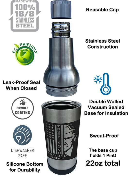 LIMITED EDITION Trump DraftBottle - Stainless Steel Insulated Re-Usable Detachable Bottle with Silicone Bottom 22oz