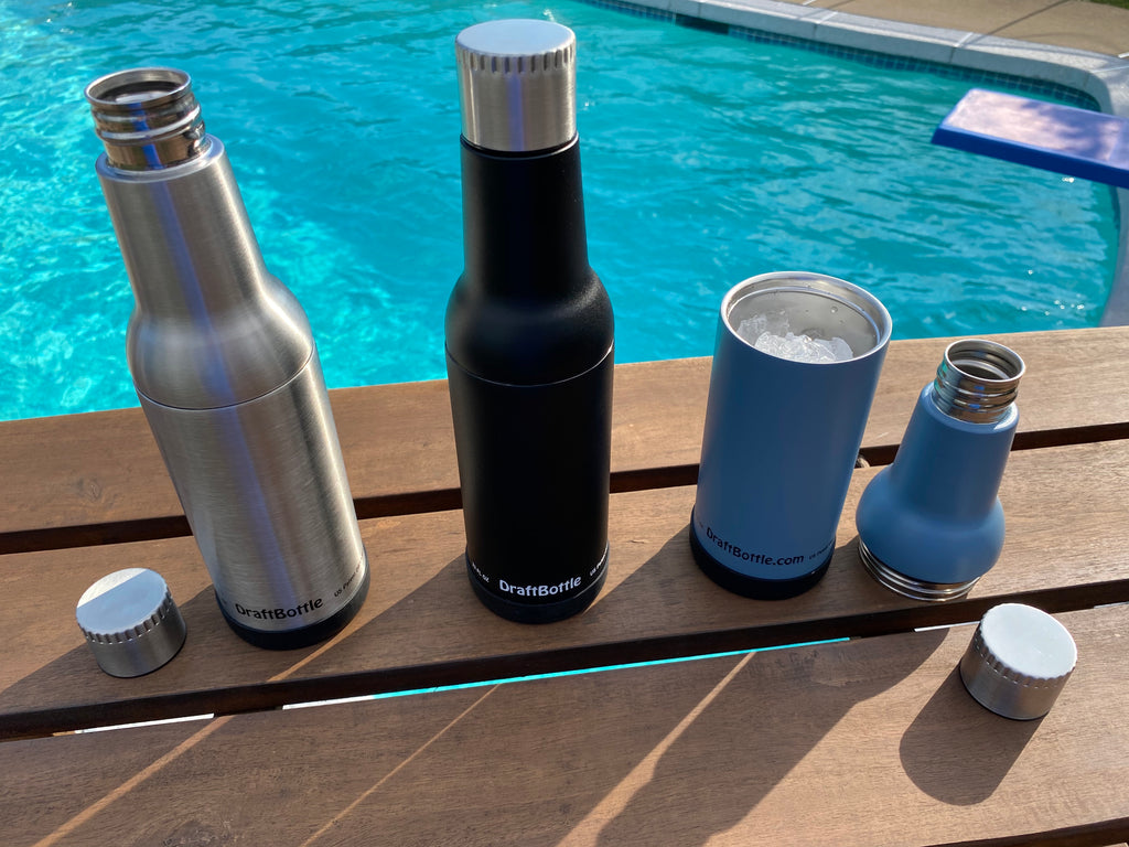 DraftBottle Stainless Steel Insulated Re-Usable Detachable Bottle with Silicone Bottom 22oz Original