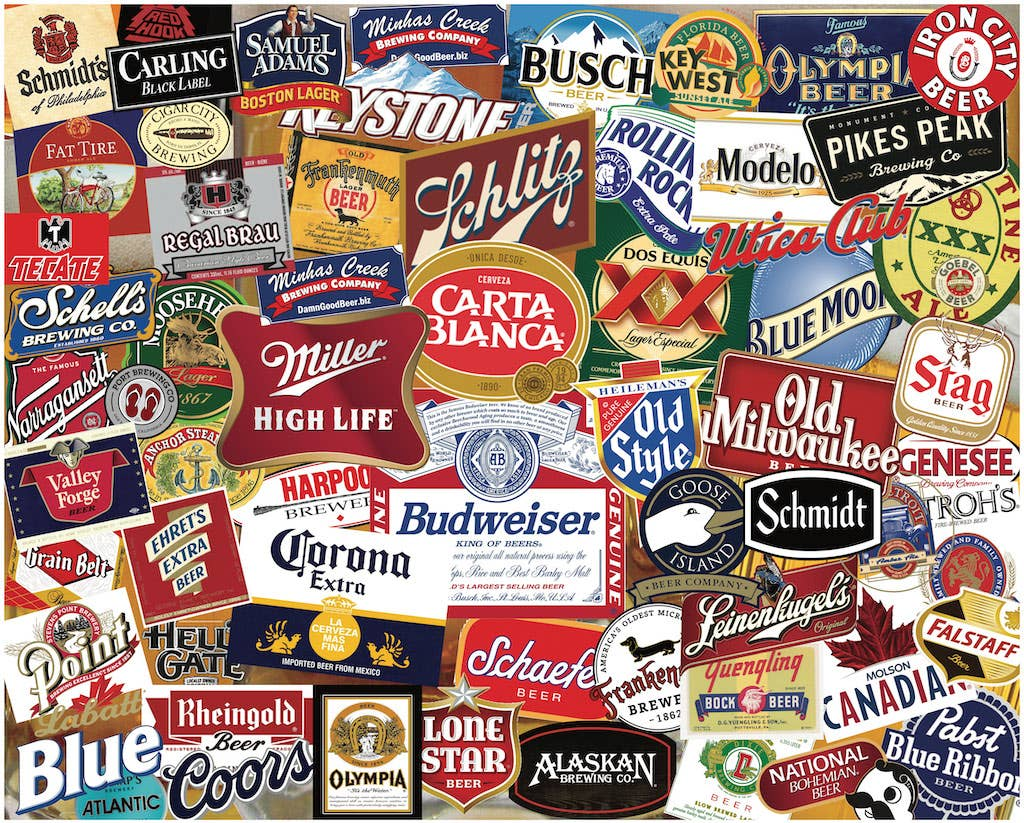 "American Beer Labels Puzzle 1000 Pieces 24"" x 30"""