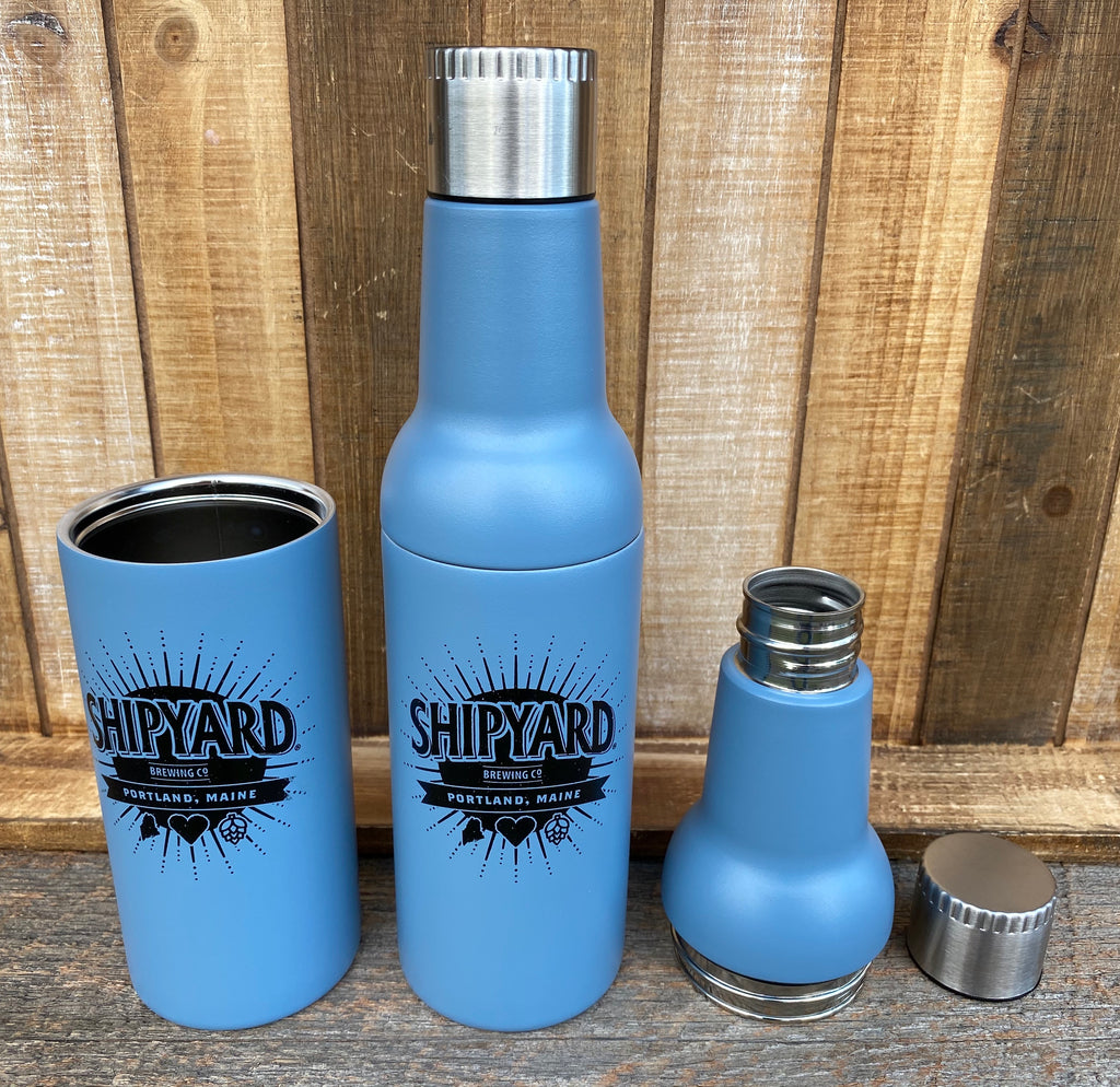 Wholesale DraftBottle Case of 30 - Stainless Steel Powder Coated Steel Blue Re-Usable Bottle 22oz - DraftBottle