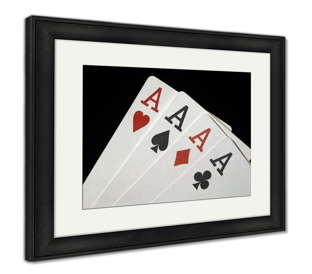 Framed Print, Four Aces On Black - DraftBottle