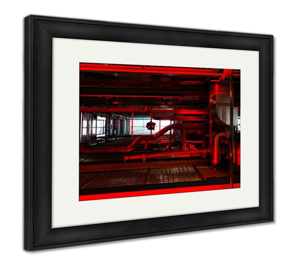 Framed Print, Glowing Red Pipes Brewery Factory Industry Perspective Light - DraftBottle
