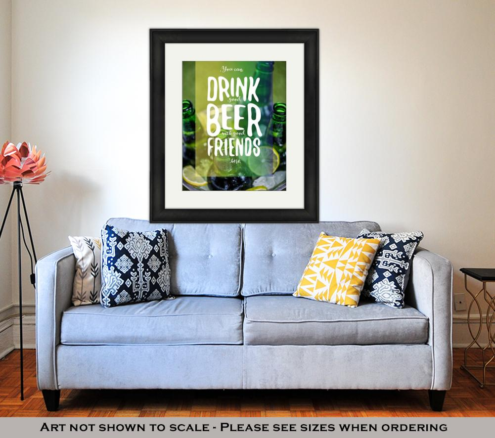 Framed Print, Bucket Full Of Ice And Beer Bottles - DraftBottle