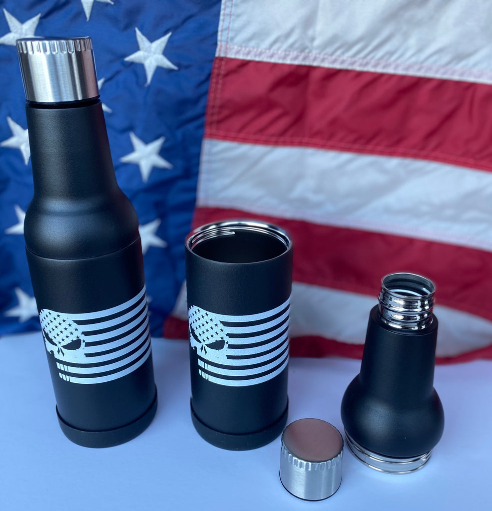 USA Punisher Flag Black Powder Coated DraftBottle LIMITED EDITION - Insulated Re-Usable Detachable Bottle with Silicone Bottom 22oz