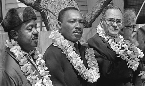 Ralph Abernathy, Martin Luther King, and Ralph Bunche prior to the start of the march.
