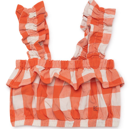 Bobo Choses Ruffles Vichy Top