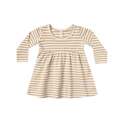 Quincy Mae Baby Dress in Honey Stripe