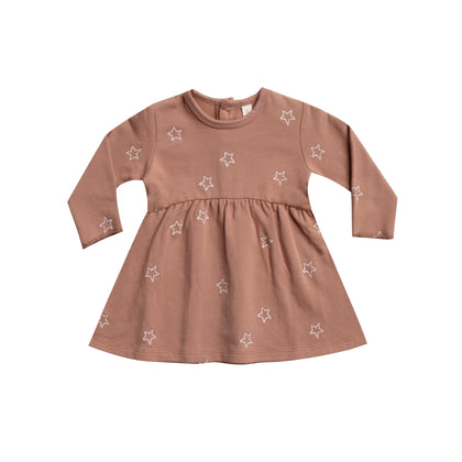 Quincy Mae Fleece Dress in Clay