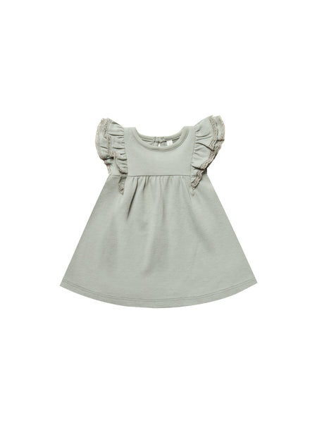 Quincy Mae Flutter Dress in Sage